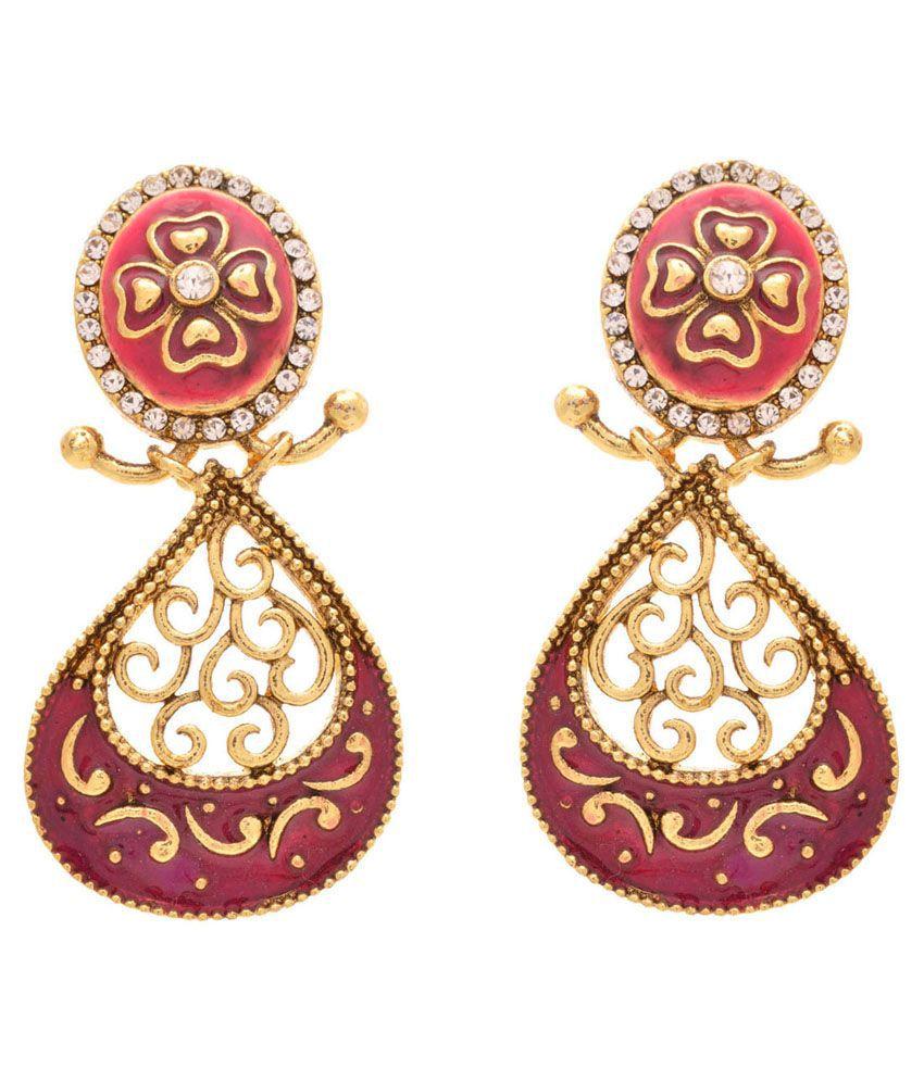 Jfl Golden Brass Drop Earrings