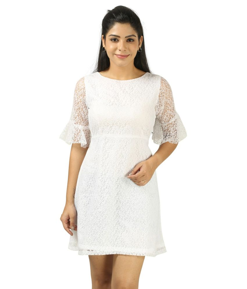 f271b96690c8 Vuvea White Lace Dresses - Buy Vuvea White Lace Dresses Online at Best  Prices in India on Snapdeal