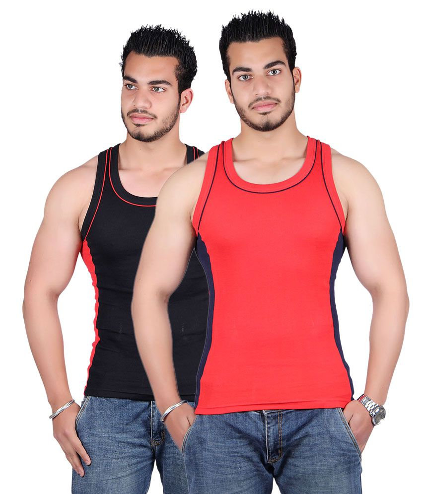 White Moon Red & Black Cotton Sports Gym Vest - Pack Of 2