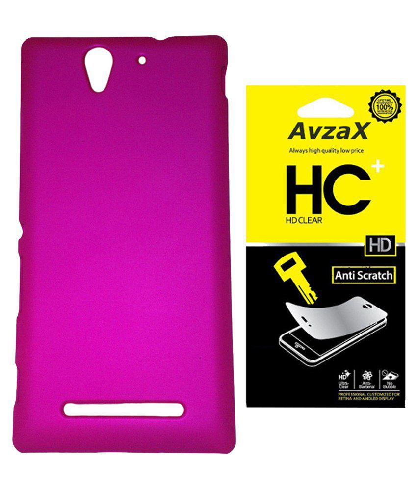 Avzax Back Cover For Sony Xperia Z3-pink With Screen Guard