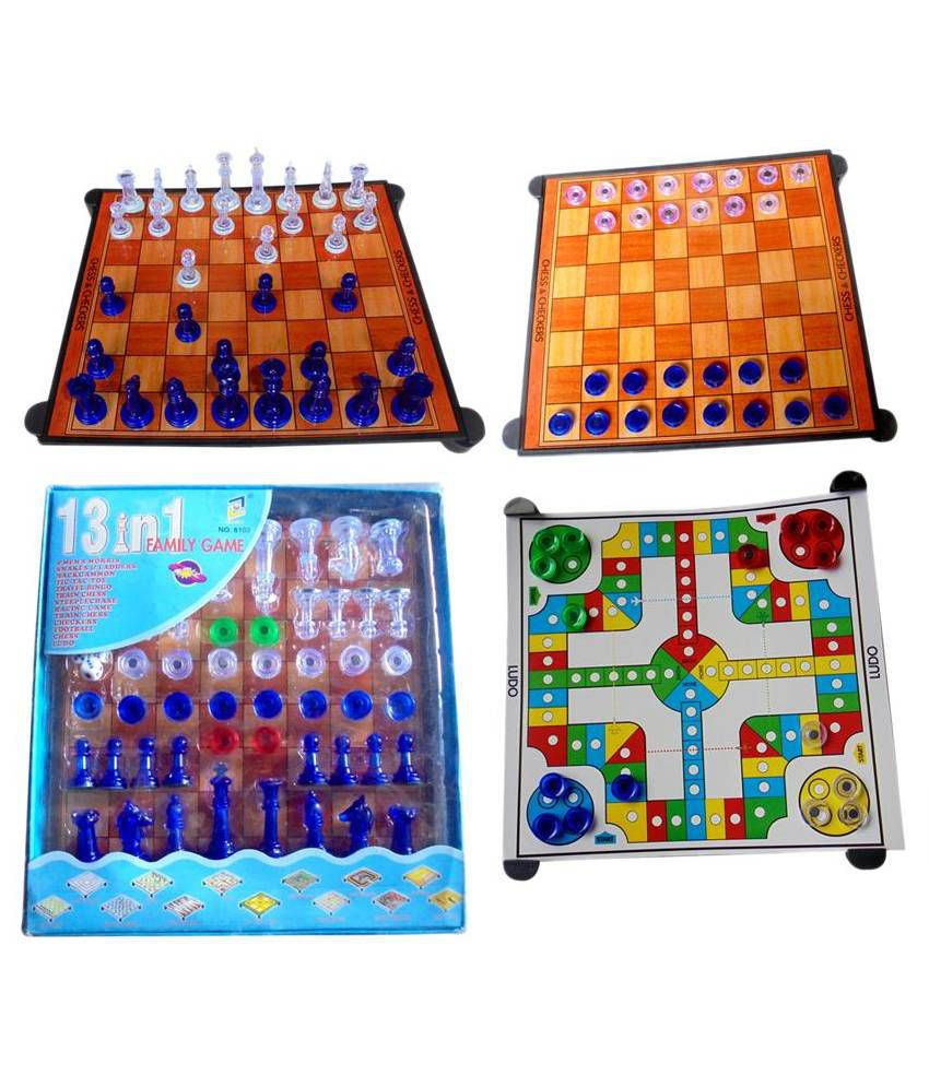 Fun Box Multi Color Magnetic Chess Board (13 in 1 Game Pack)