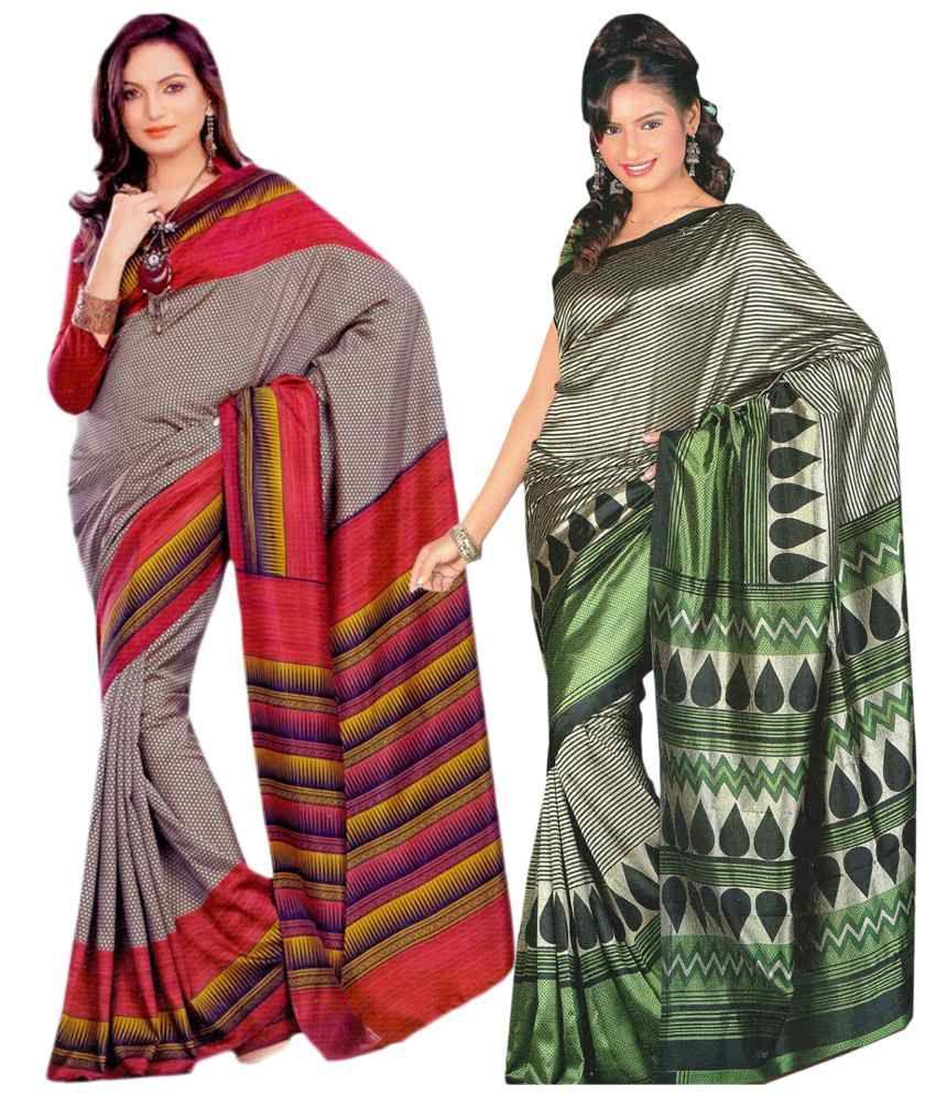 Miraan Pack of 2 Gray & Green Bhagalpuri Art Silk Sarees with Blouse Pieces