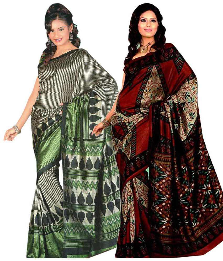 Miraan Pack of 2 Green & Red Bhagalpuri Art Silk Sarees with Blouse Pieces