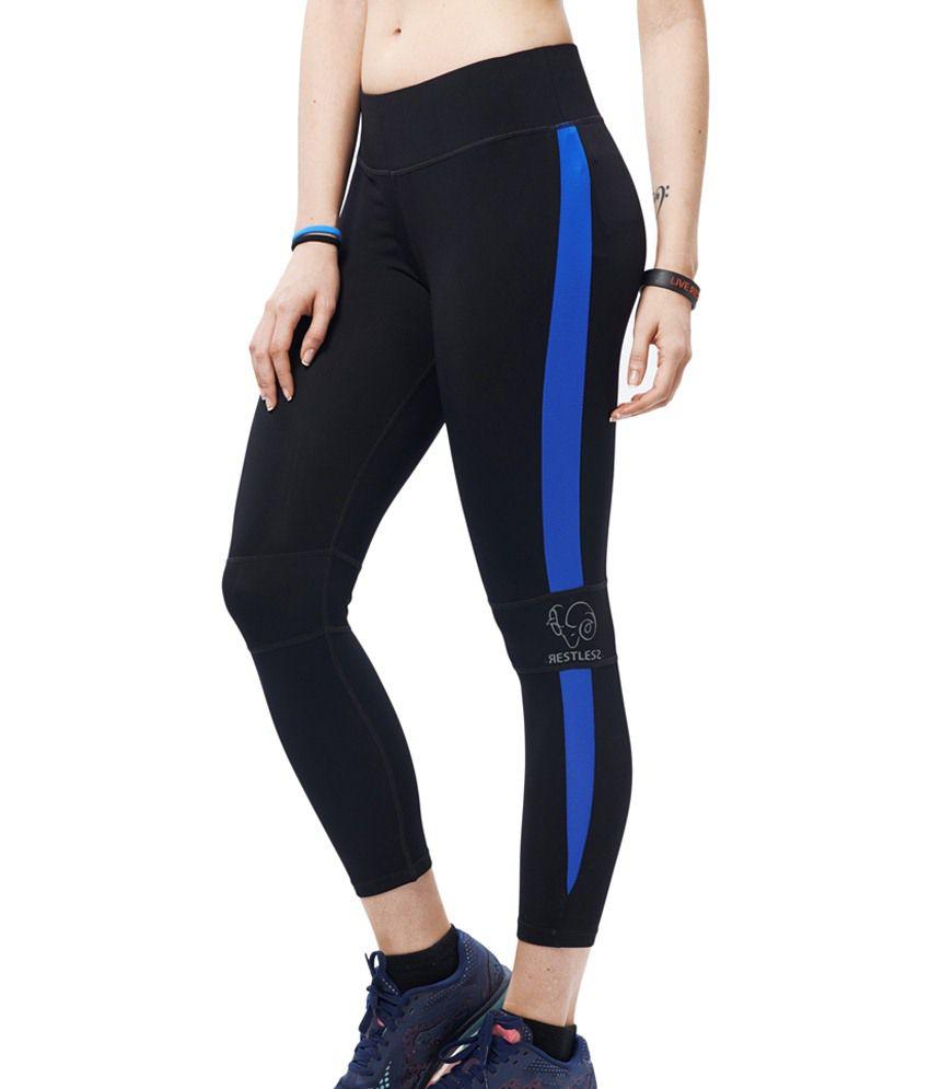 Restless Black & Blue Stretchable Sports Calf Length Leggings
