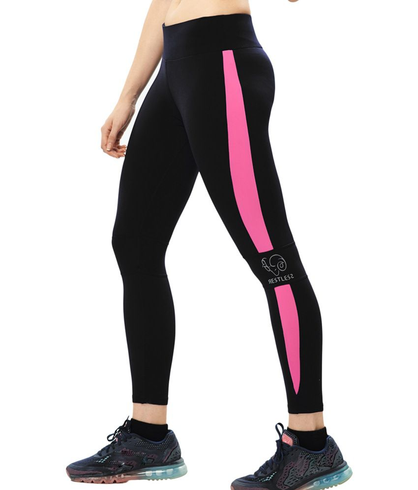 Restless Black & Pink Stretchable Sports Calf Length Leggings