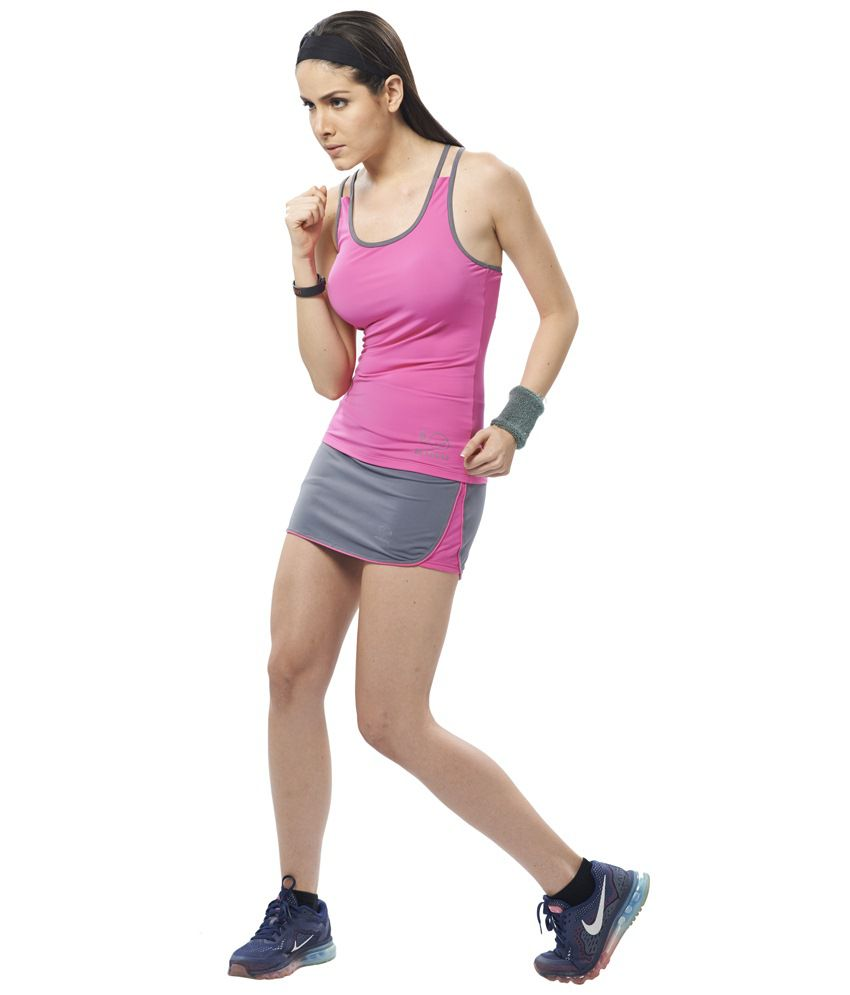 Restless Gray & Pink Stretchable Sports Skirt