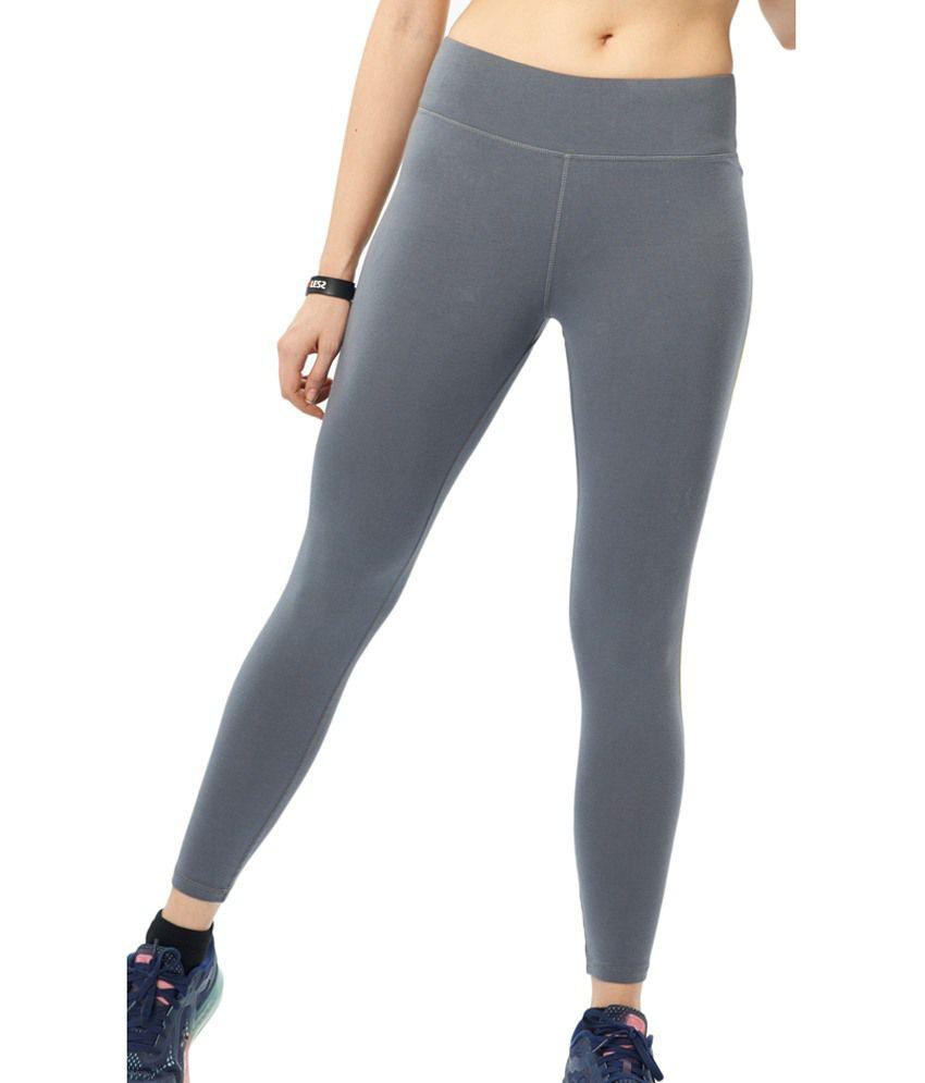 Restless Gray Stretchable Sports Calf Length Leggings
