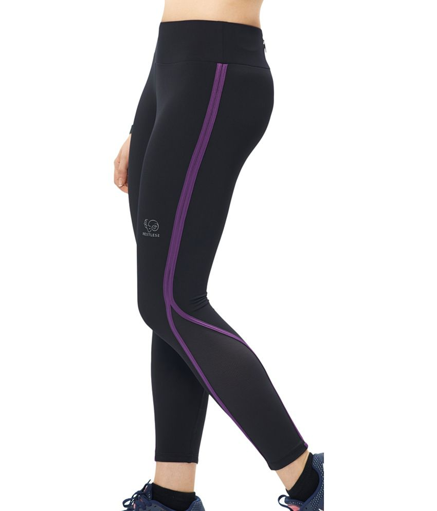 Restless Navy Blue & Purple Stretchable Sports Calf Length Leggings