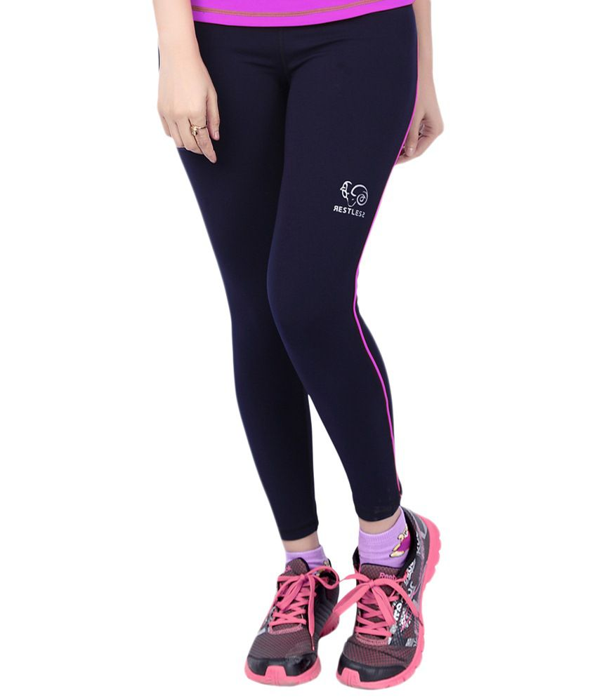 Restless Navy Blue Stretchable Sports Leggings