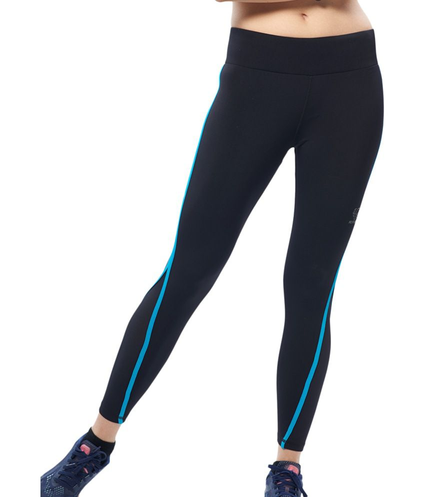 Restless Navy Blue Stretchable Sports Calf Length Leggings