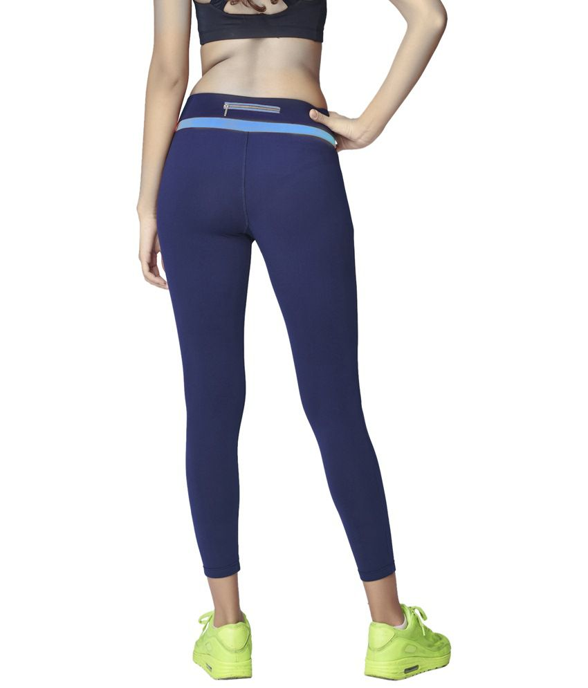 Restless Navy Blue Stretchable Sports Calf Length Leggings