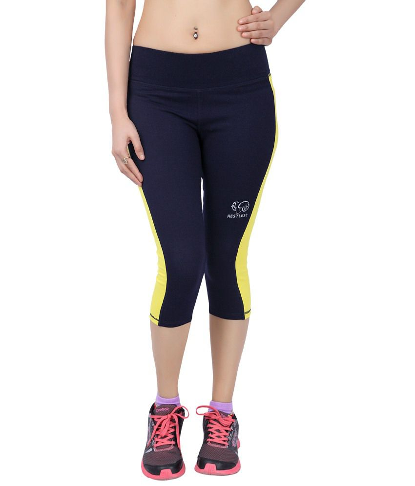 Restless Navy Blue & Yellow Stretchable Sports Capris