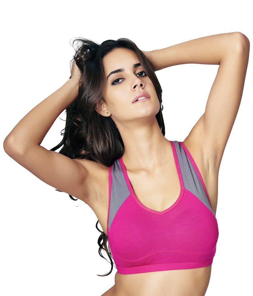 Restless Pink & Gray Stretchable Sports Bra