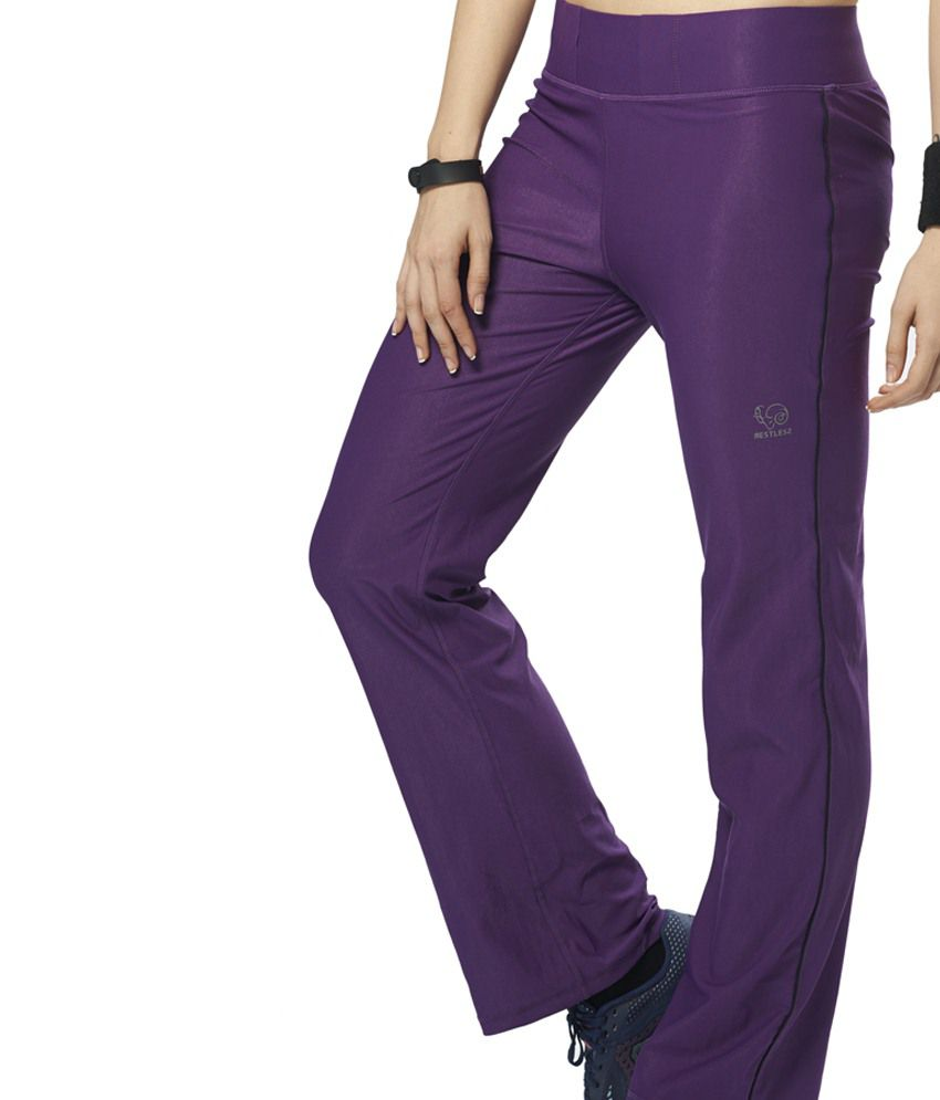Restless Purple Stretchable Sports Trackpants