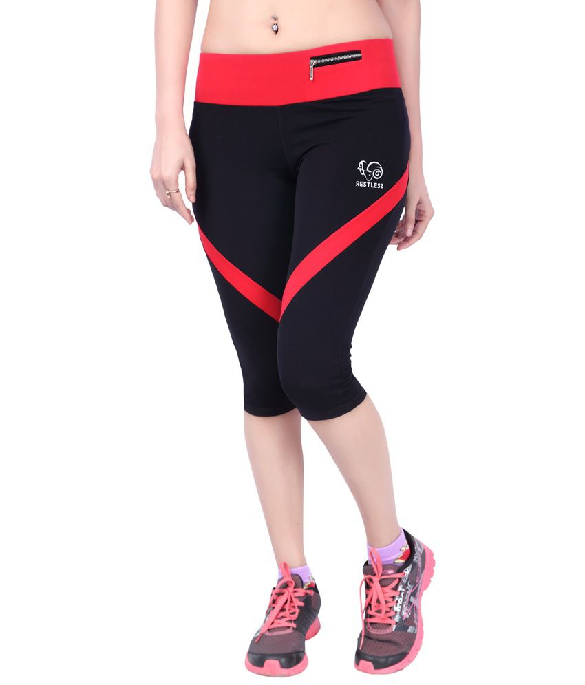 Restless Red & Black Stretchable Sports Capris