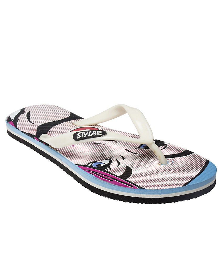 Stylar Ghost White & Black Flip Flops