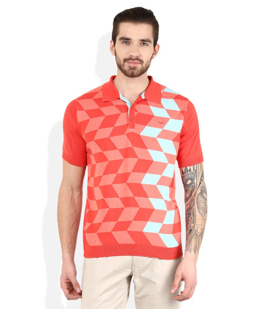 Color Plus Red Checked Polo T Shirt