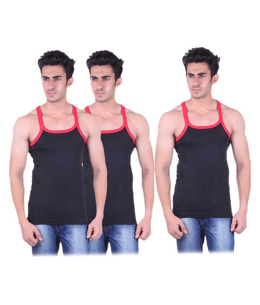Tulsi Ram Fabrics Tulsi Ram Fabrics Black Cotton Vest Pack Of 3
