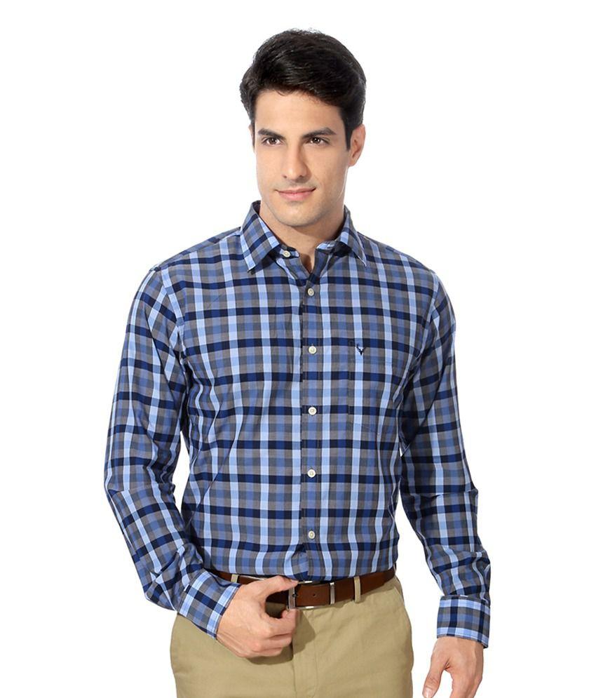 Allen Solly Blue Cotton Slim Fit Formal Shirt