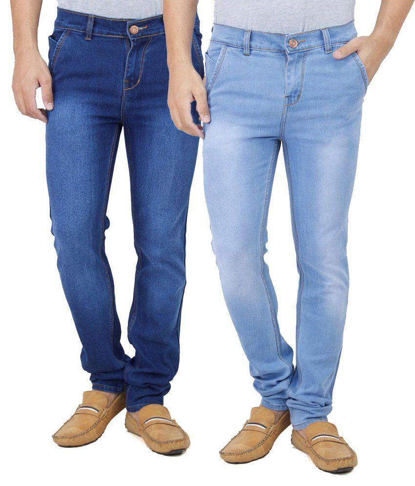 Ansh Fashion Wear Fashion Wear Blue Regular Fit Jeans - Pack Of 2
