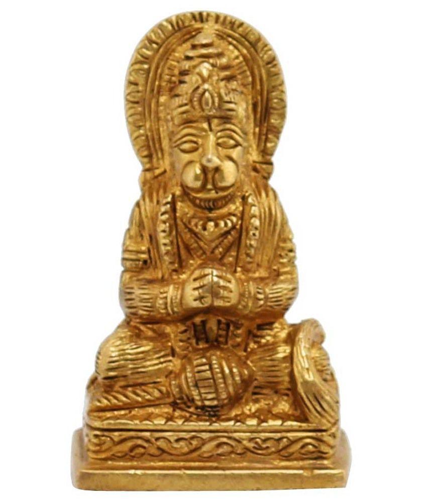 Ark Creation Yellow Brass Hindu God Hanuman Sitting