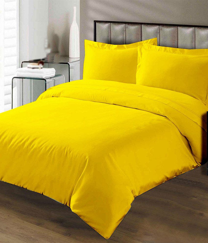 Bombay Dyeing Yellow Plain Double Bed Sheet