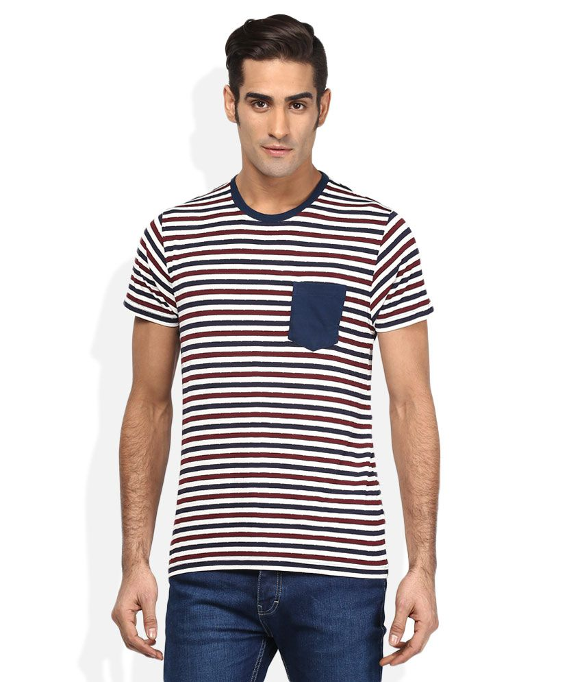 Vettorio Fratini Red Round Neck Stripers T-Shirt