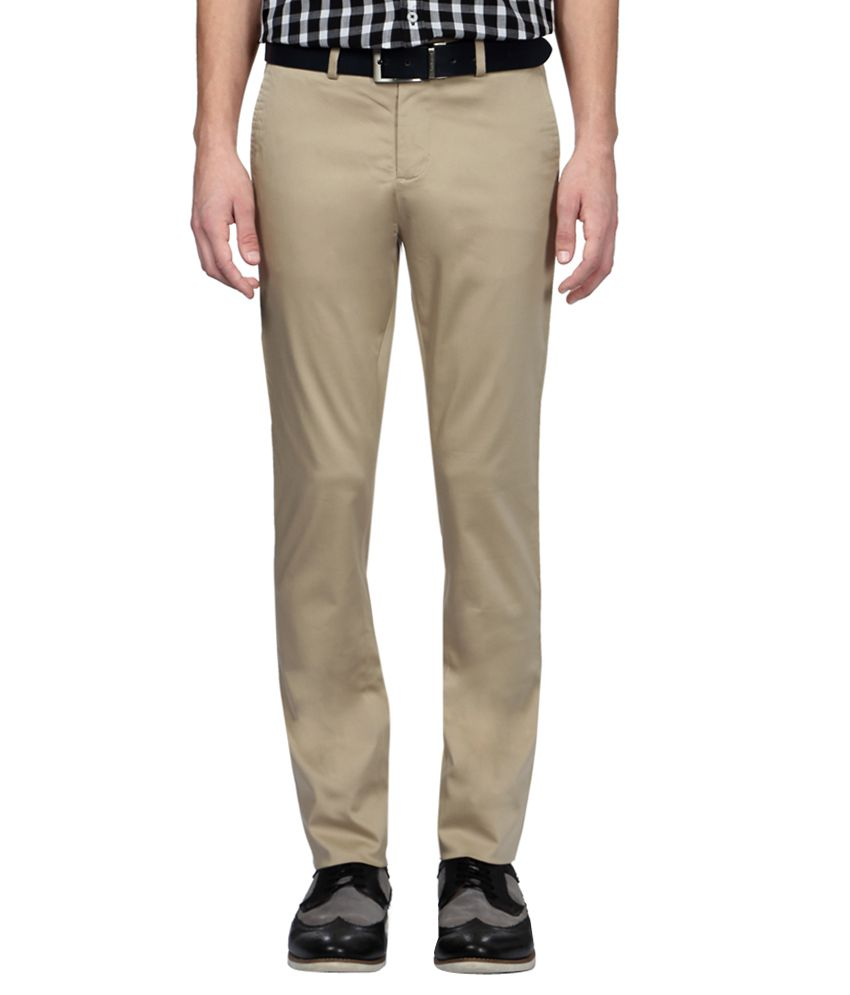 Allen Solly Beige Regular Fit Casual Trousers