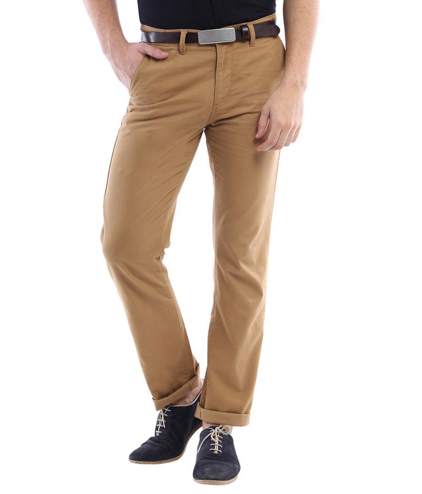 Allen Solly Khaki Regular Fit Casual Trousers