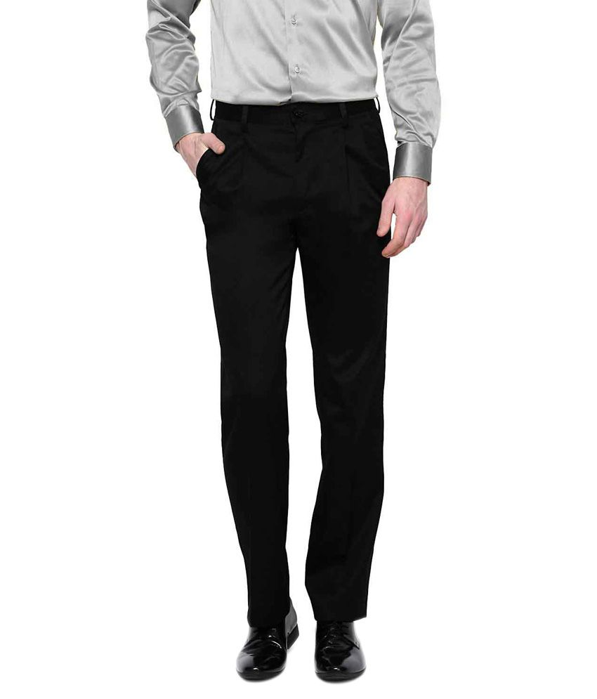 Legasea Black Regular Fit Formal Pleated Trouser