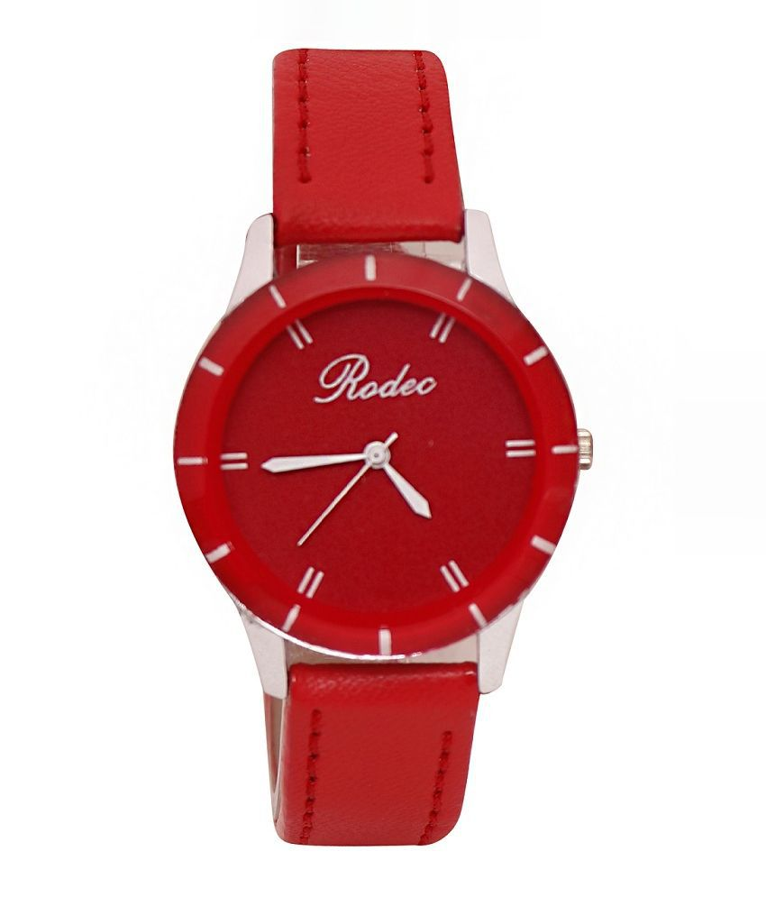 Rodec Red Round Analog Watch For Women