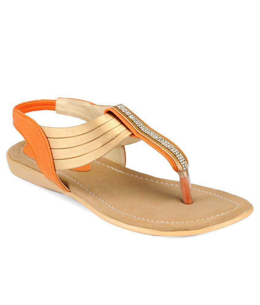 A Click Away Beige & Orange Sandals