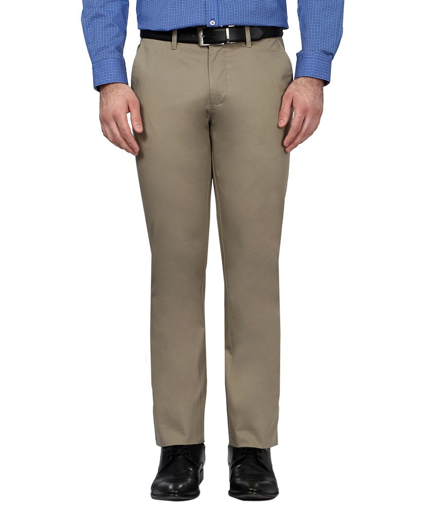 Allen Solly Khaki Regular Fit Formal Trousers