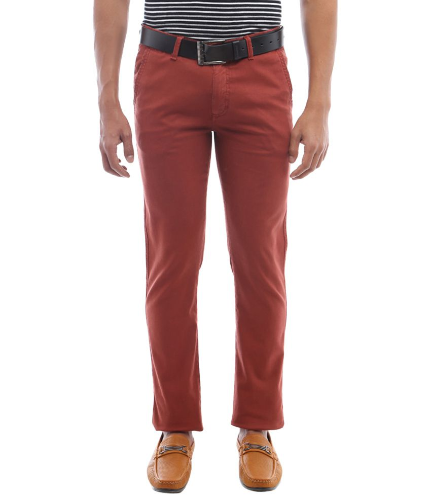 Allen Solly Maroon Slim Fit Casual Trousers