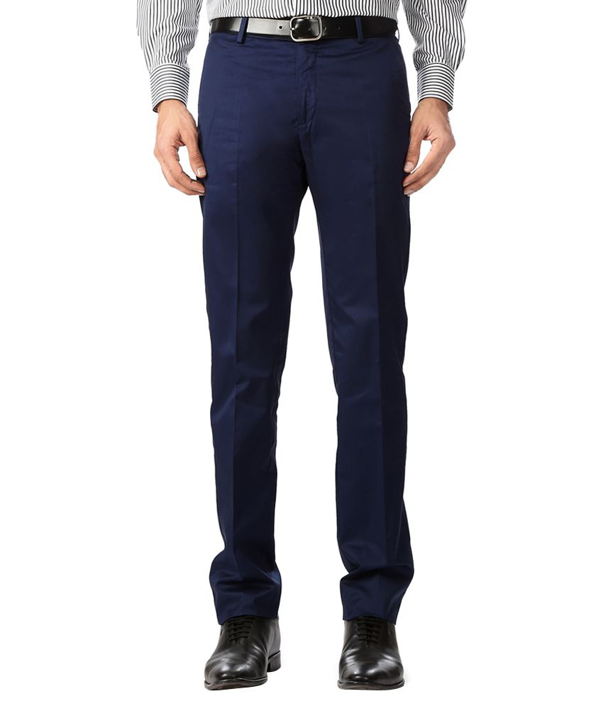 Allen Solly Navy Regular Fit Formal Trousers