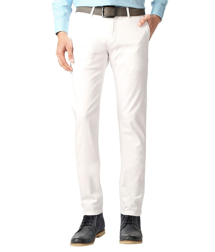Allen Solly White Slim Fit Casual Trousers