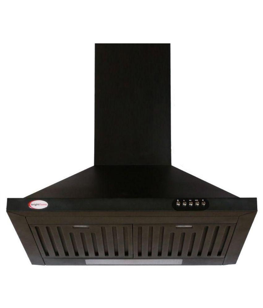 BrightFlame 60cm Suction Capacity  1100M 3/HR bfkc60zbss Straight Line Chimney Black