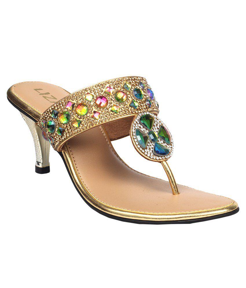 Liza Golden Medium Heeled Slip Ons
