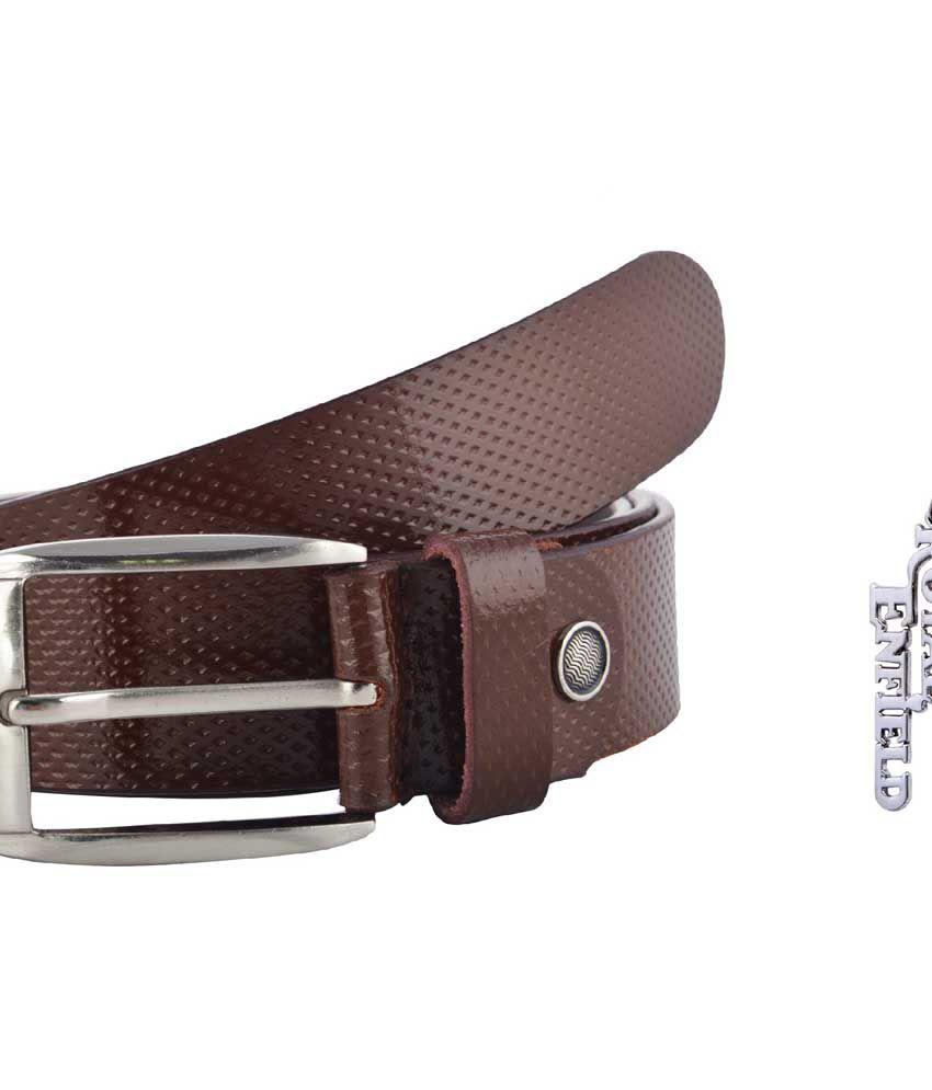 Rocket Market Brown Leather Casual Belt