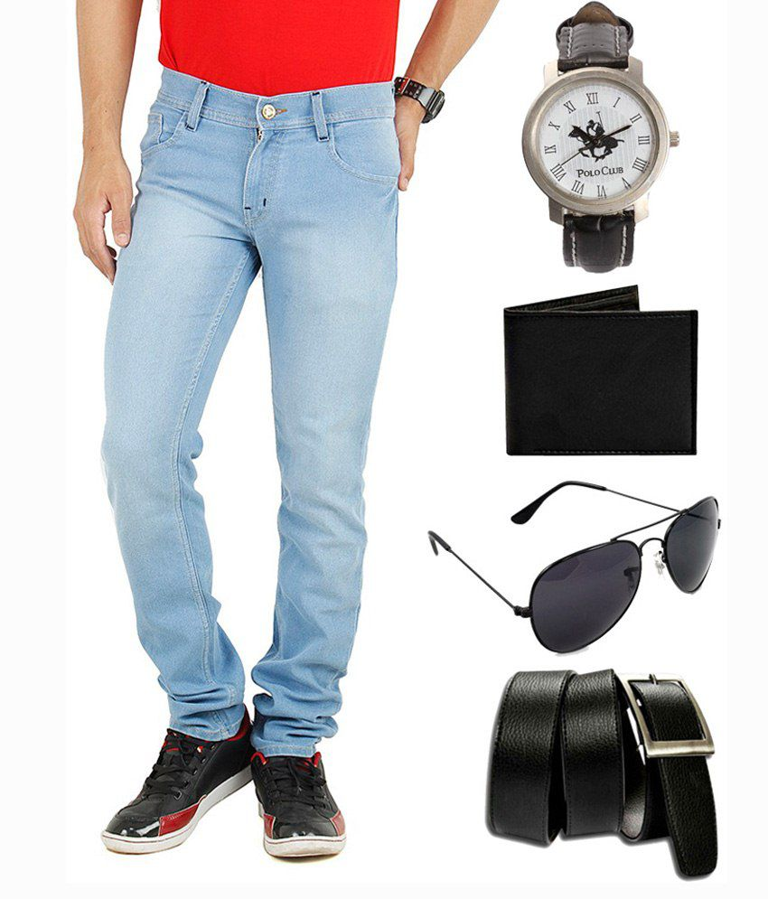 Ansh Fashion Combo Of Blue Slim Fit Jeans With Watch, Sunglasses, Belt & Wallet For Men