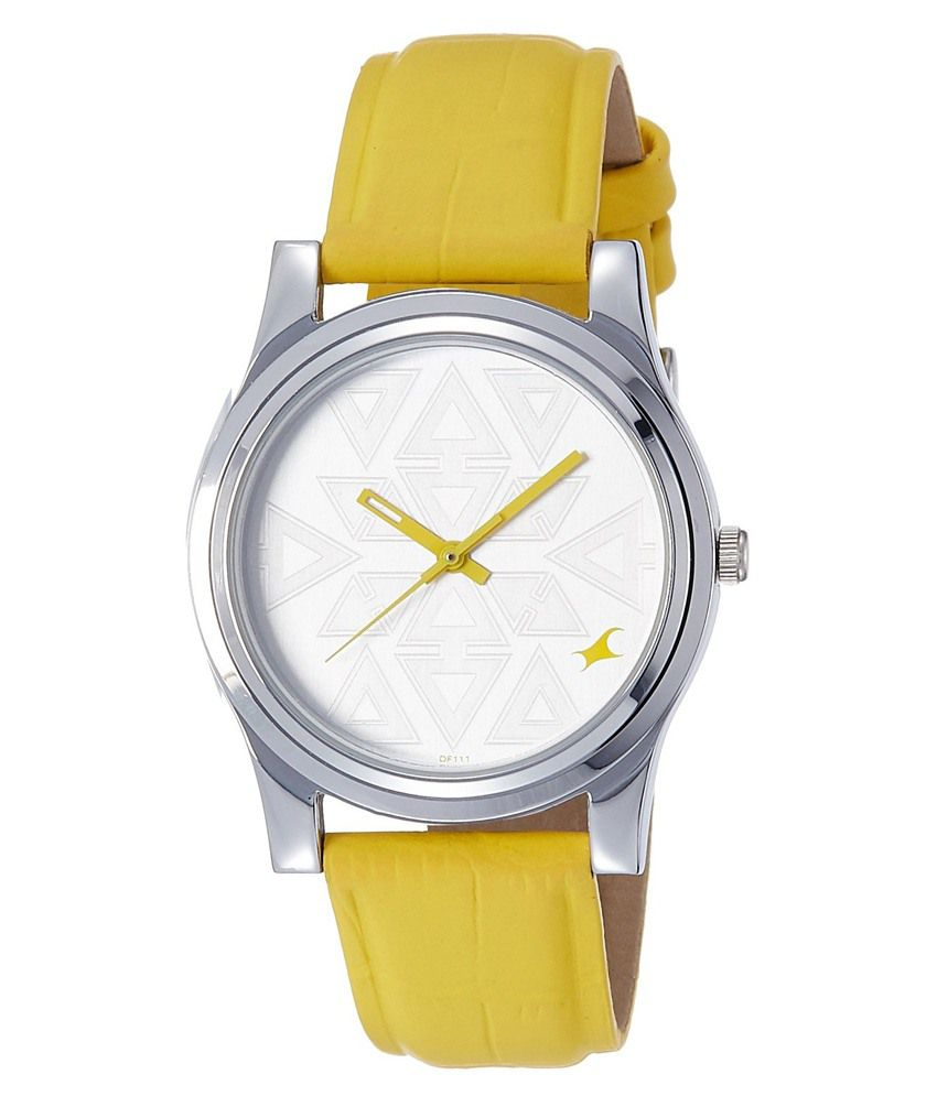 8a1b7577d83 Fastrack Yellow Leather Wrist Watch For Women Price in India  Buy Fastrack  Yellow Leather Wrist Watch For Women Online at Snapdeal
