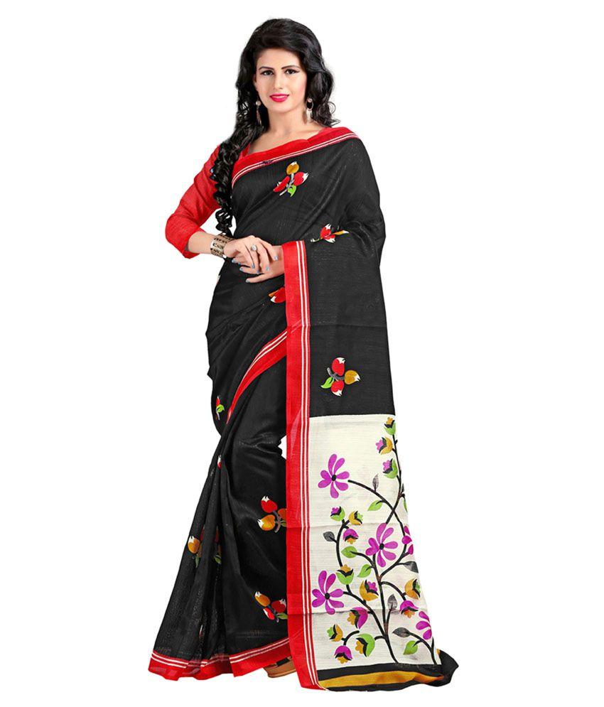 Laxmi Fashion Black Bhagalpuri Silk Saree