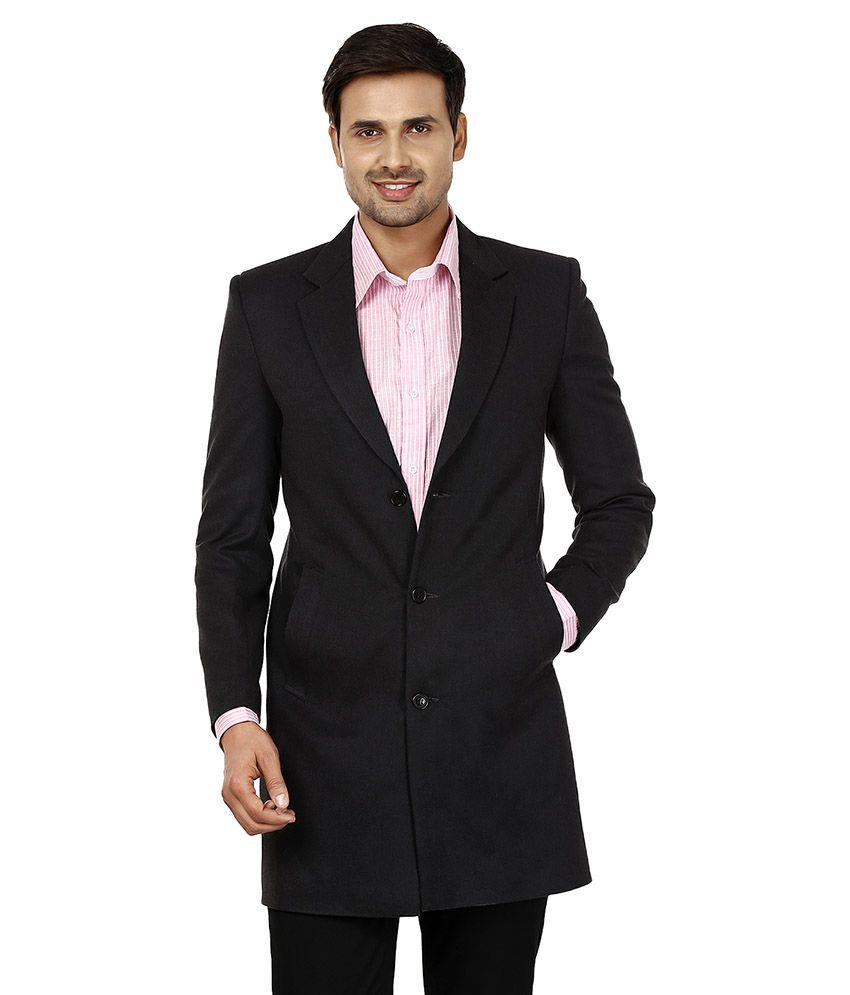 Platinum Studio Black Woolen Long Coat