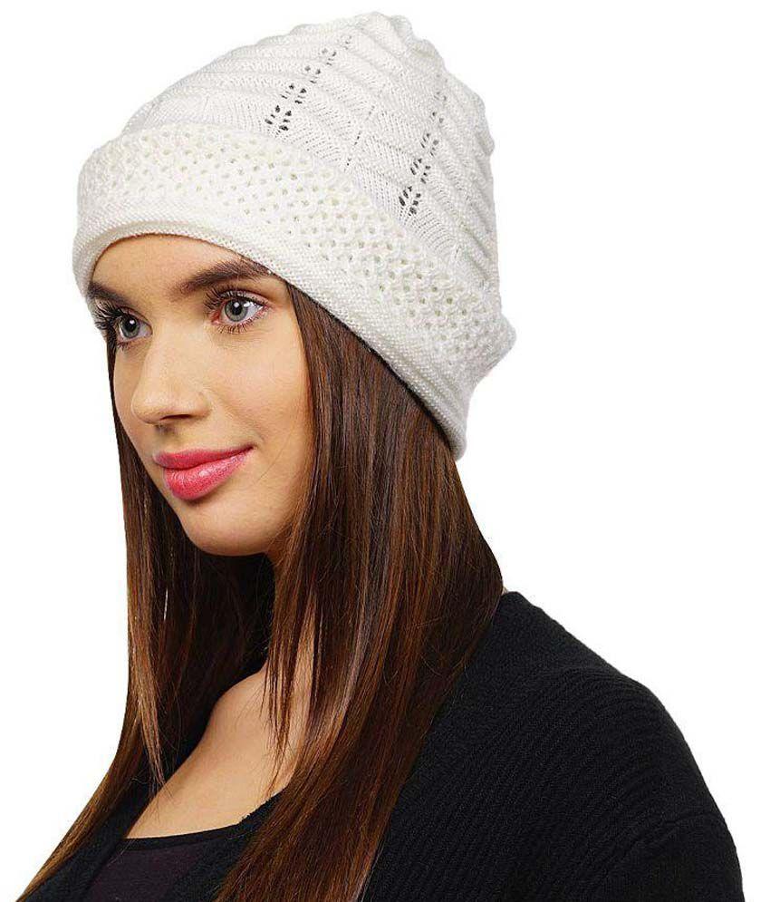 Denovo White Winter Cap For Women  Buy Online at Low Price in India ... 085e36b5f3e