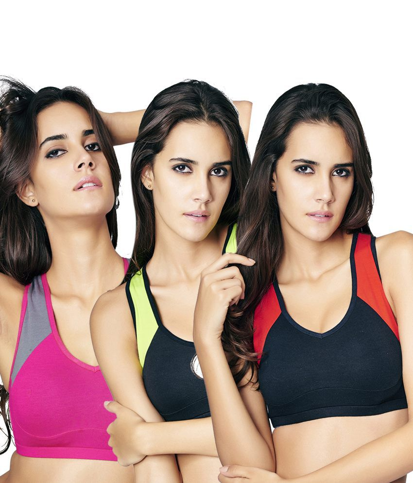 Restless Restless Black, Red And Pink Set Of 3 Cotton Sports Bra
