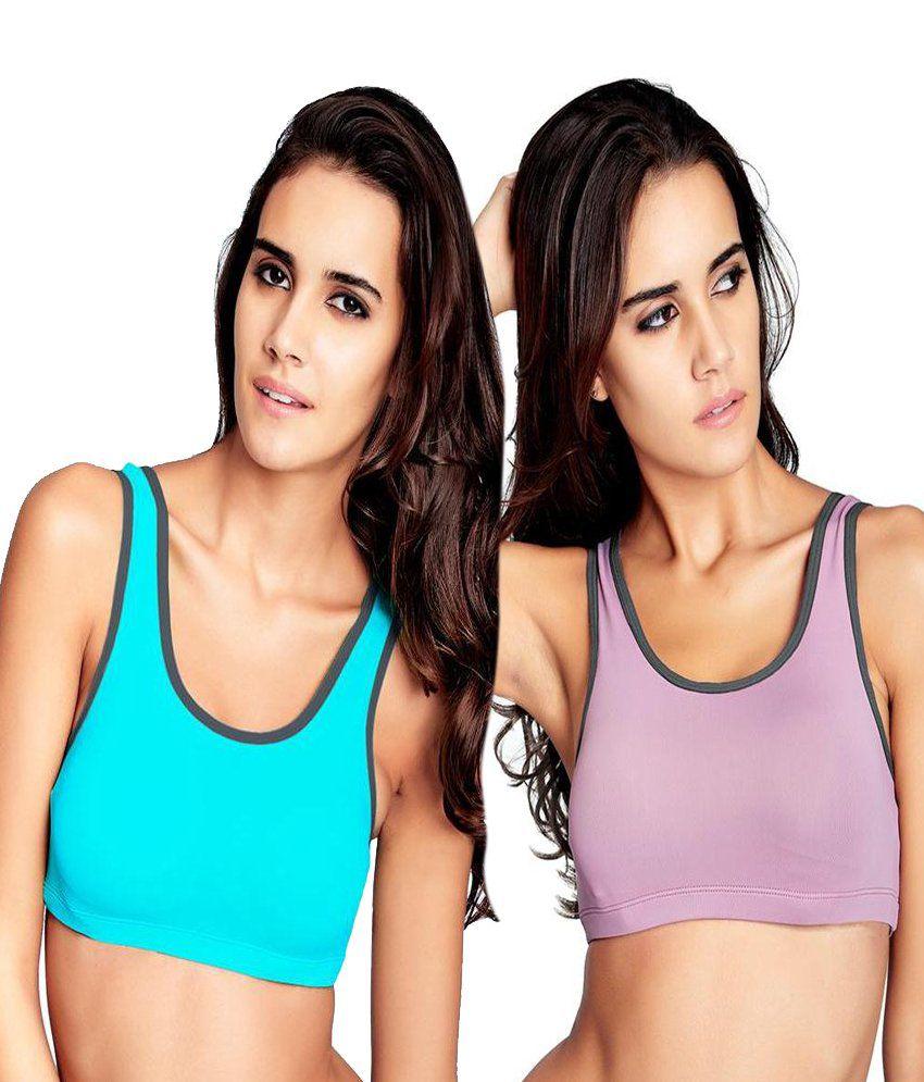 Restless Restless Blue And Pink Set Of 2 Polyamide Sports Bra