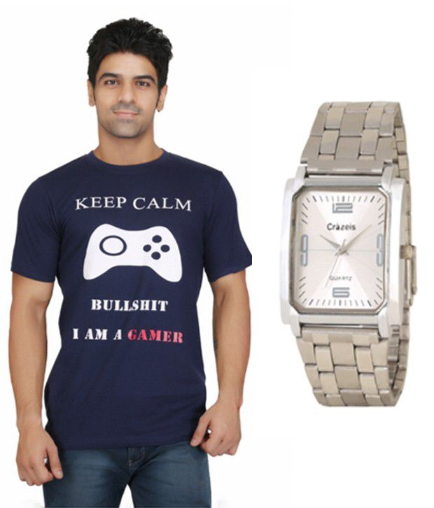 Crazeis Blue Cotton Combo Of T Shirt And Watch
