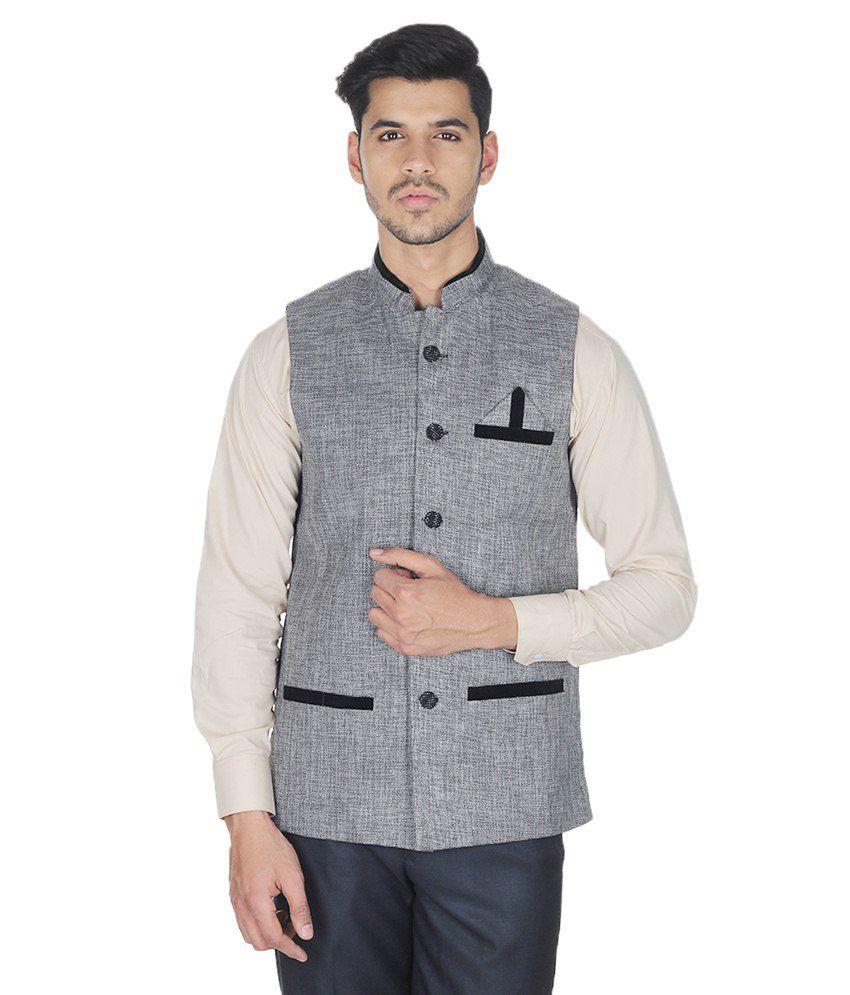 Selfieseven Grey Cotton Blend Waistcoat