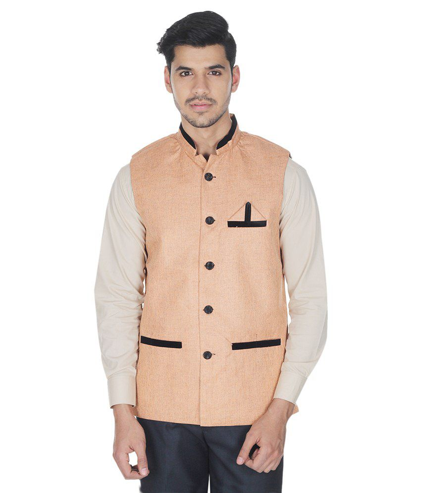 Selfieseven Orange Cotton Blend Waistcoat