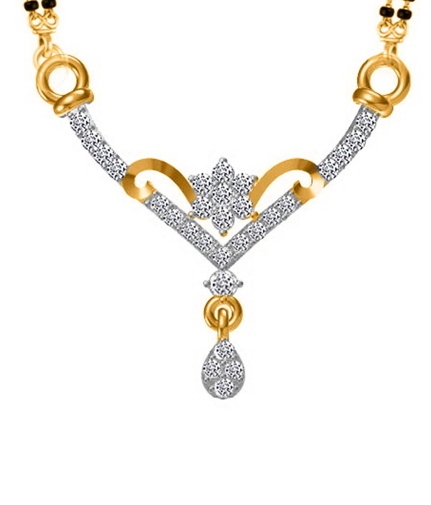 Twisha Golden Alloy CZ Mangalsutra Pendant With Chain
